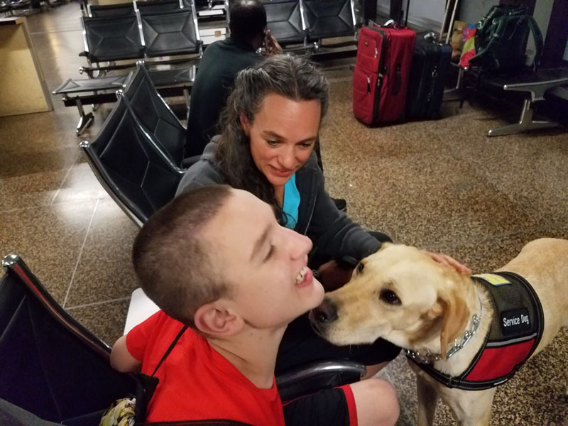 Gordo, a Seizure and Autism Service Dog, meeting his new owner Ben who has seizures and autism